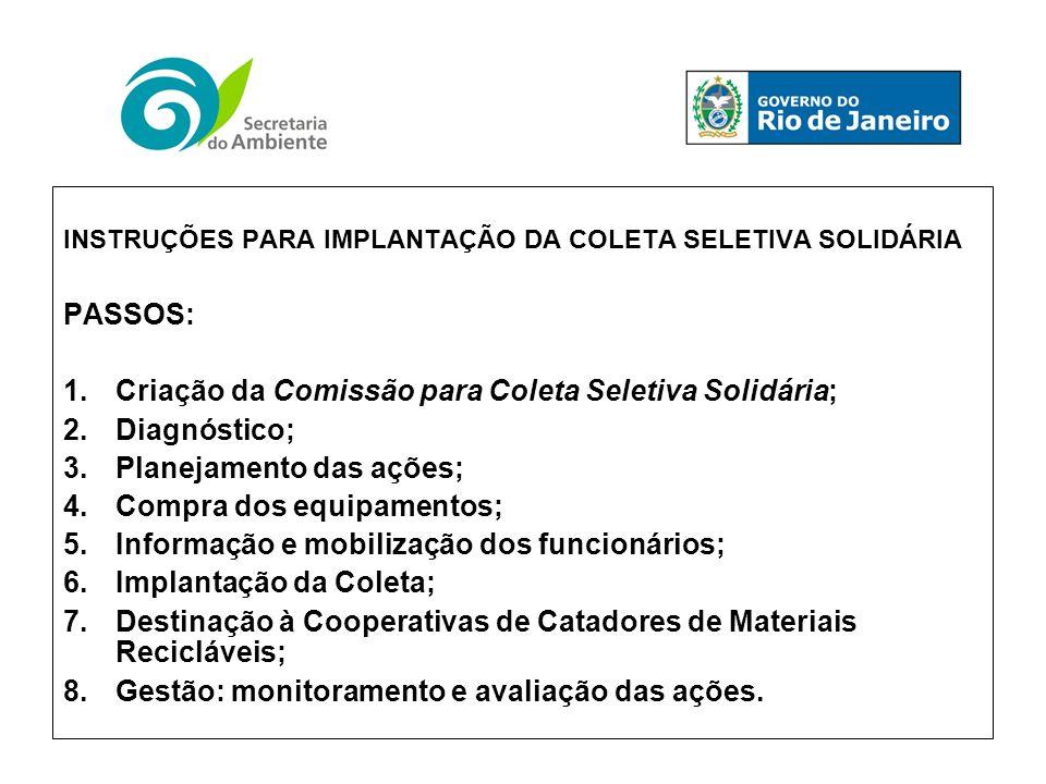 Criação da Comissão para Coleta Seletiva Solidária; Diagnóstico;