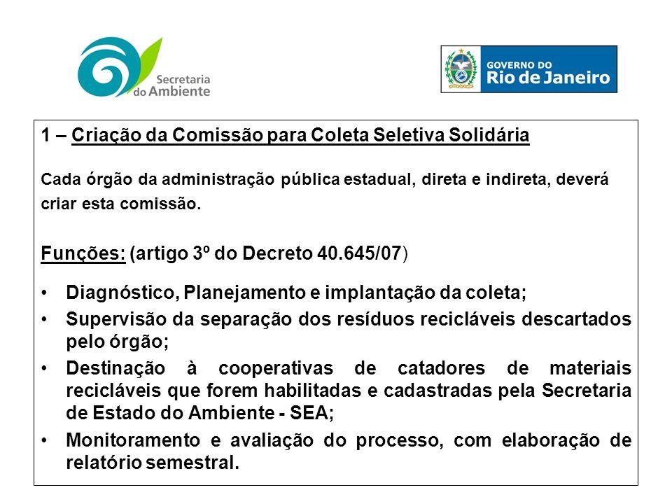 1 – Criação da Comissão para Coleta Seletiva Solidária