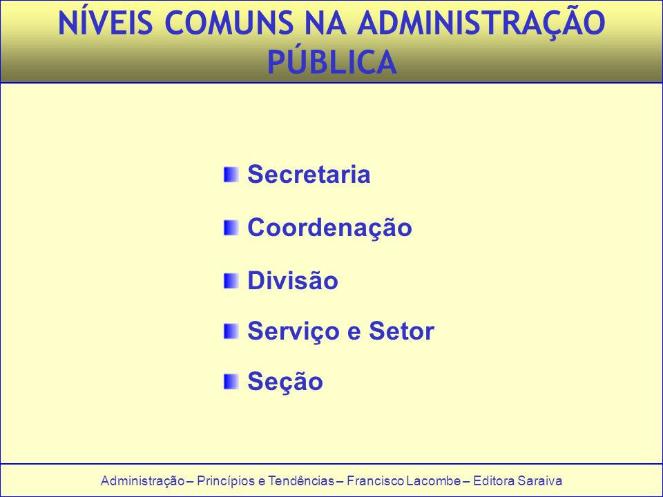 NÍVEIS COMUNS NA ADMINISTRAÇÃO PÚBLICA