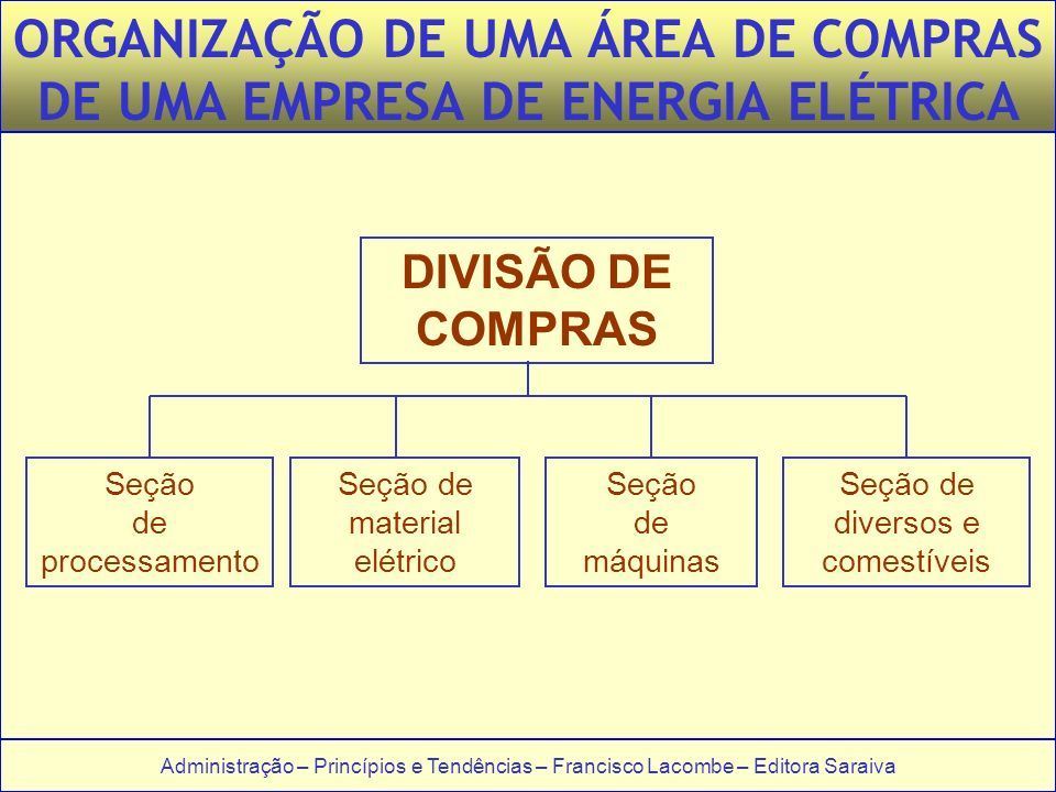 ORGANIZAÇÃO DE UMA ÁREA DE COMPRAS DE UMA EMPRESA DE ENERGIA ELÉTRICA