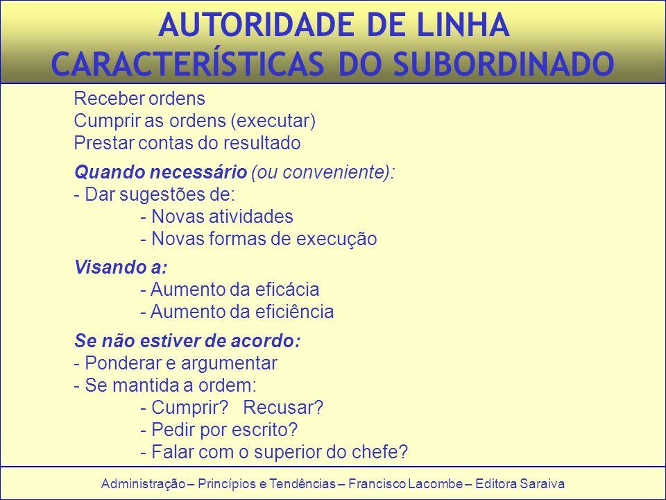 CARACTERÍSTICAS DO SUBORDINADO