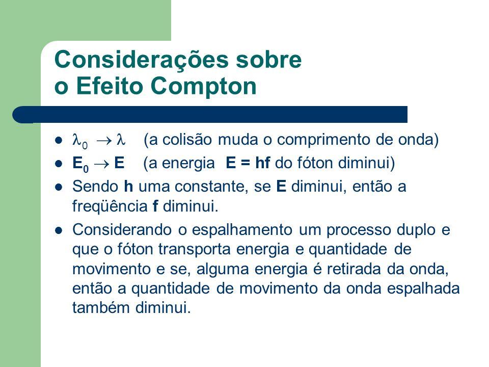 Considerações sobre o Efeito Compton