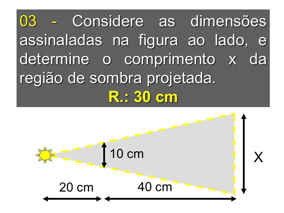 03 - Considere as dimensões assinaladas na figura ao lado, e determine o comprimento x da região de sombra projetada.