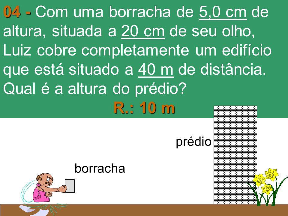 04 - Com uma borracha de 5,0 cm de altura, situada a 20 cm de seu olho, Luiz cobre completamente um edifício que está situado a 40 m de distância. Qual é a altura do prédio