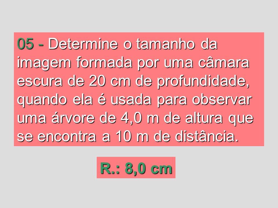 05 - Determine o tamanho da imagem formada por uma câmara escura de 20 cm de profundidade, quando ela é usada para observar uma árvore de 4,0 m de altura que se encontra a 10 m de distância.