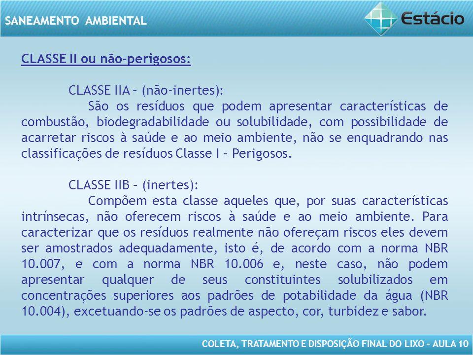 CLASSE II ou não-perigosos: