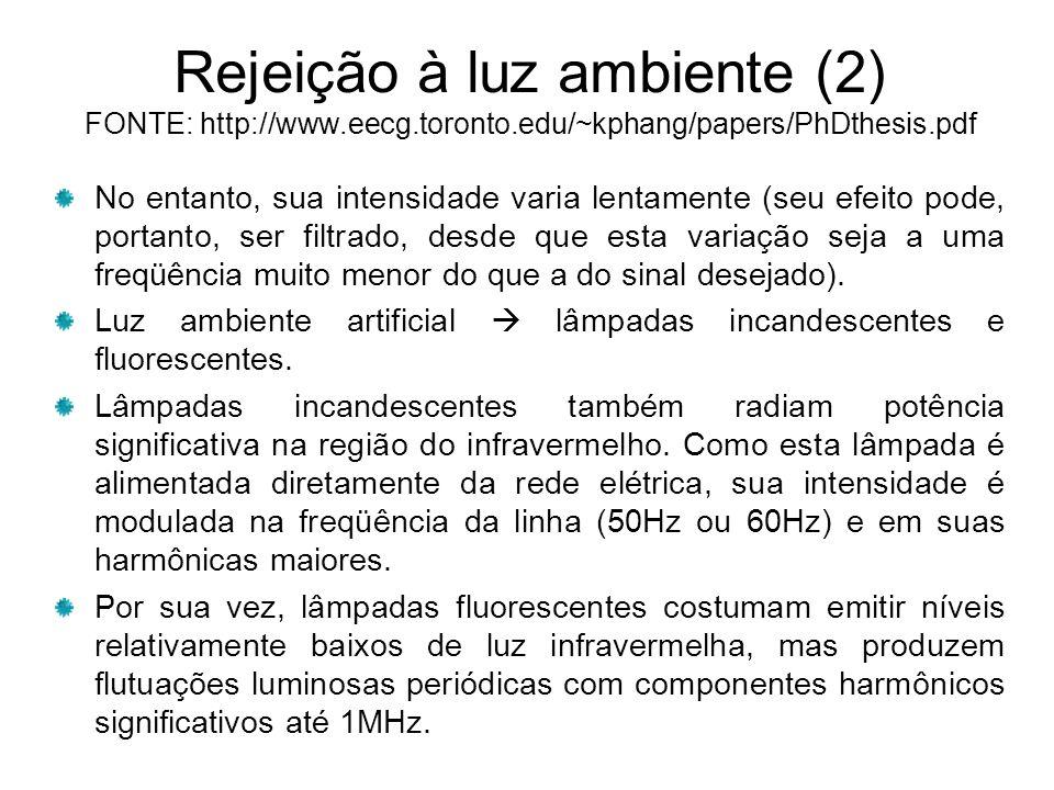 Rejeição à luz ambiente (2) FONTE: http://www. eecg. toronto