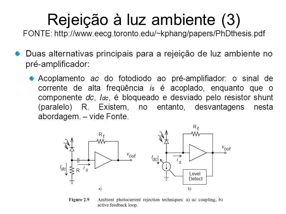 Rejeição à luz ambiente (3) FONTE: http://www. eecg. toronto