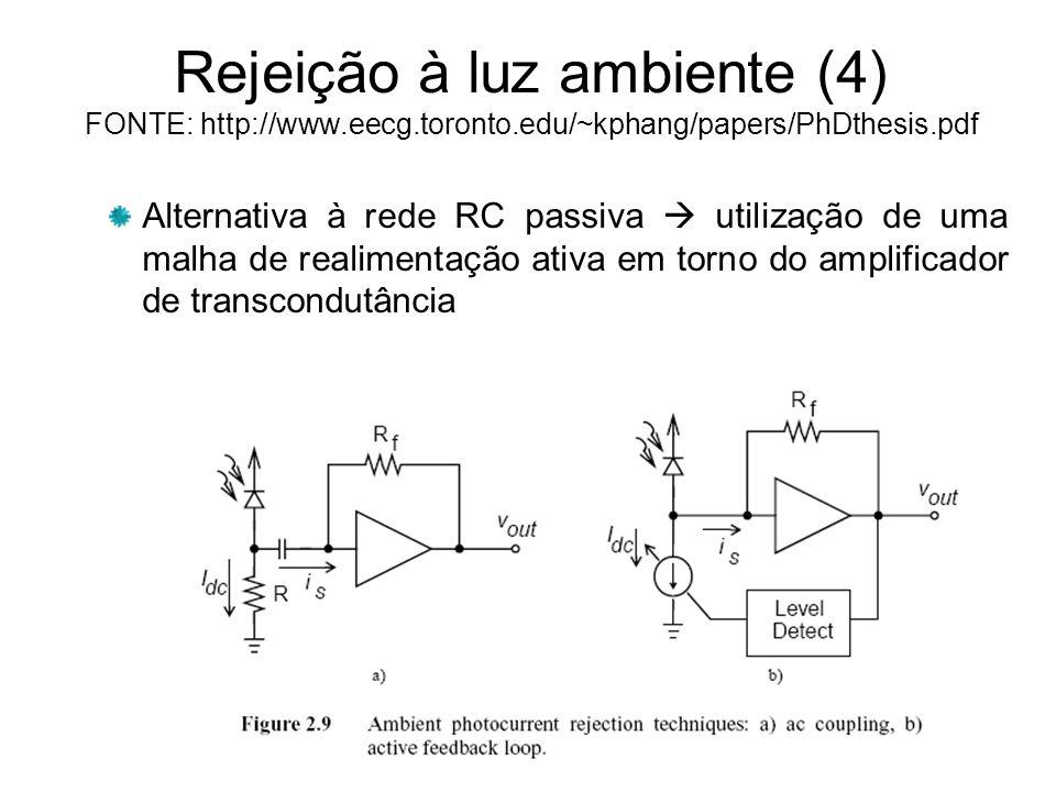 Rejeição à luz ambiente (4) FONTE: http://www. eecg. toronto