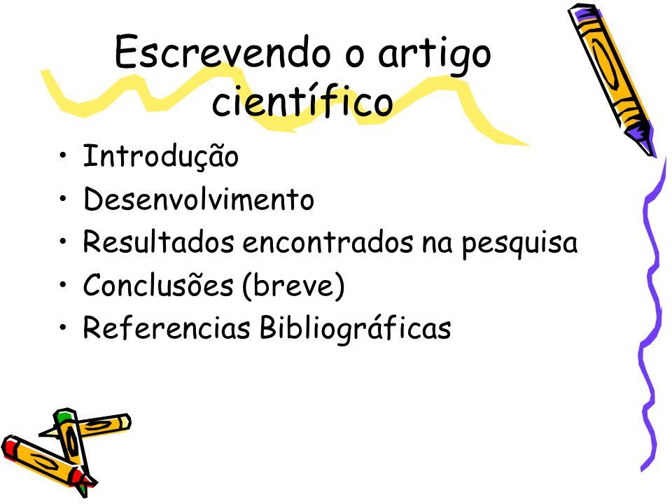 Escrevendo o artigo científico
