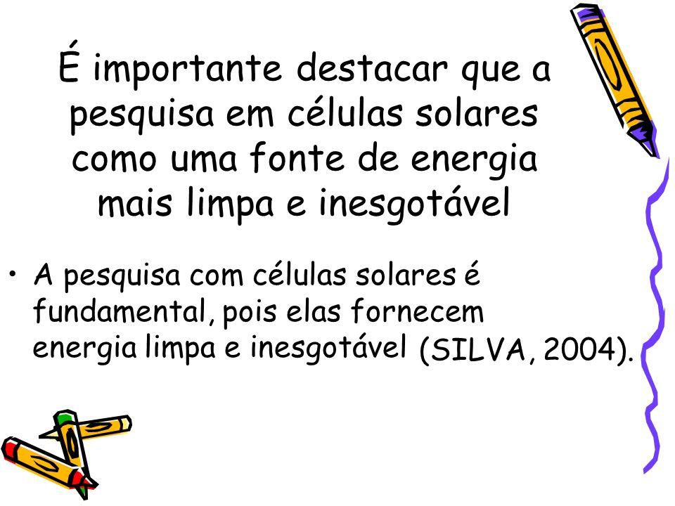 É importante destacar que a pesquisa em células solares como uma fonte de energia mais limpa e inesgotável