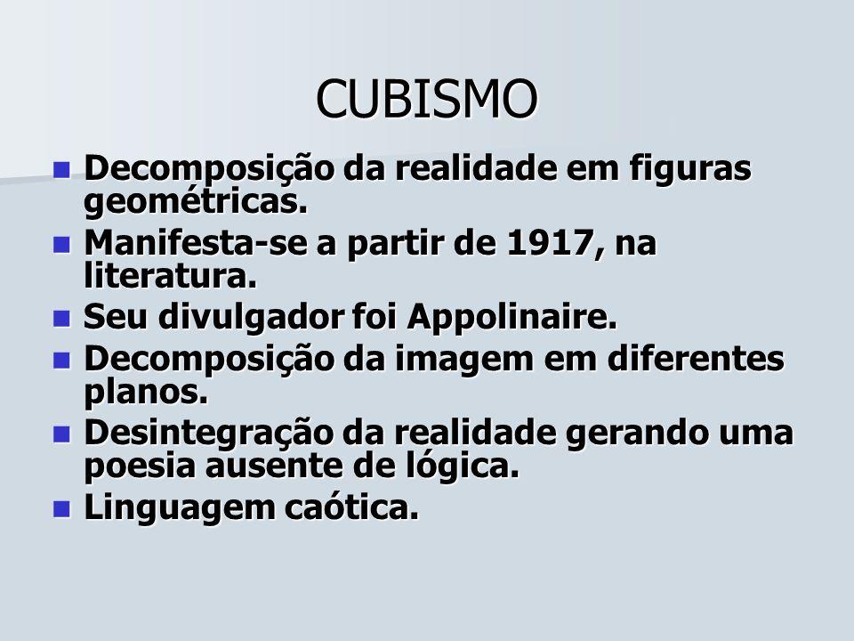 CUBISMO Decomposição da realidade em figuras geométricas.