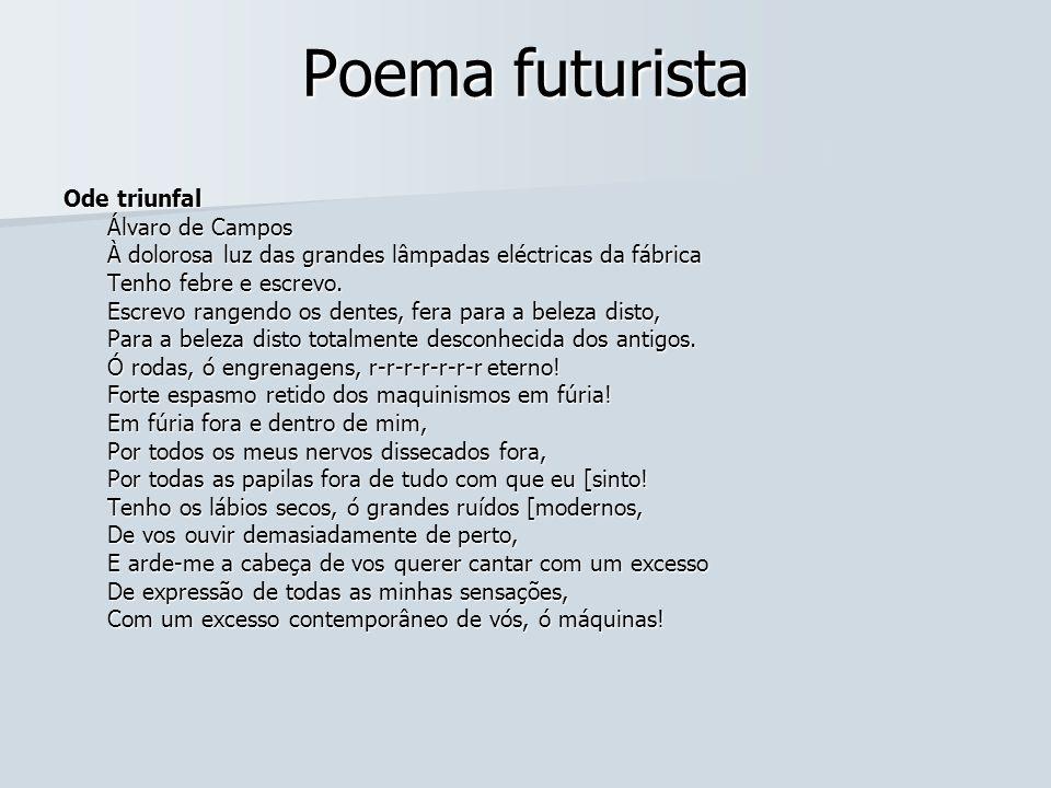 Poema futurista Ode triunfal Álvaro de Campos