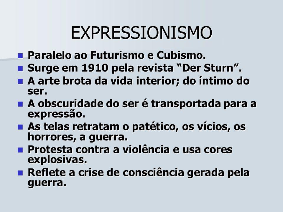 EXPRESSIONISMO Paralelo ao Futurismo e Cubismo.