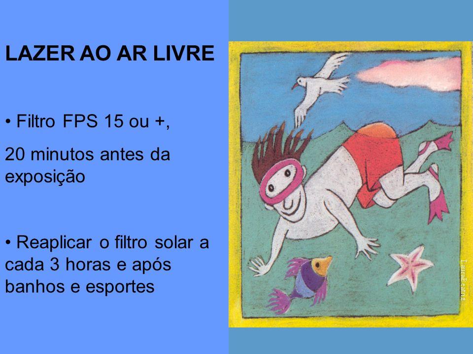 LAZER AO AR LIVRE Filtro FPS 15 ou +, 20 minutos antes da exposição
