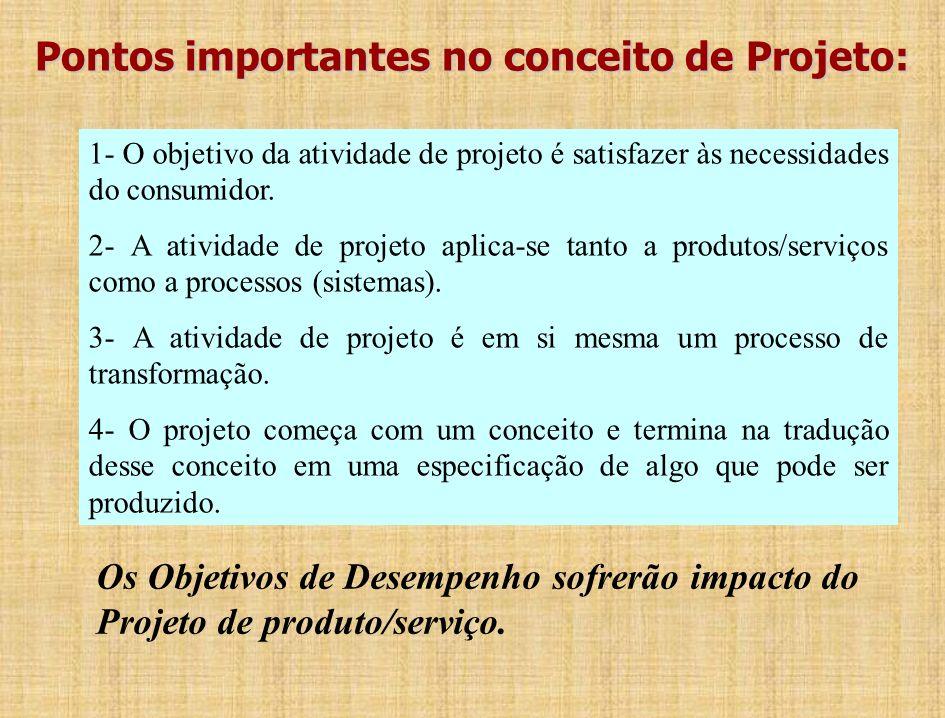 Pontos importantes no conceito de Projeto: