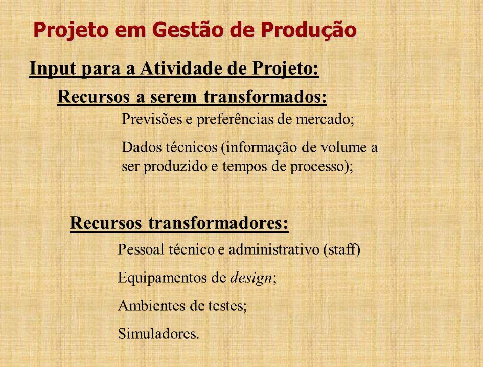 Projeto em Gestão de Produção