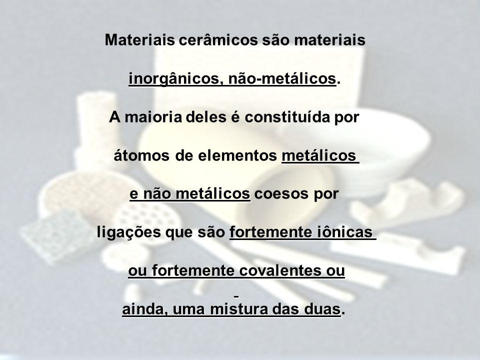Materiais cerâmicos são materiais inorgânicos, não-metálicos.