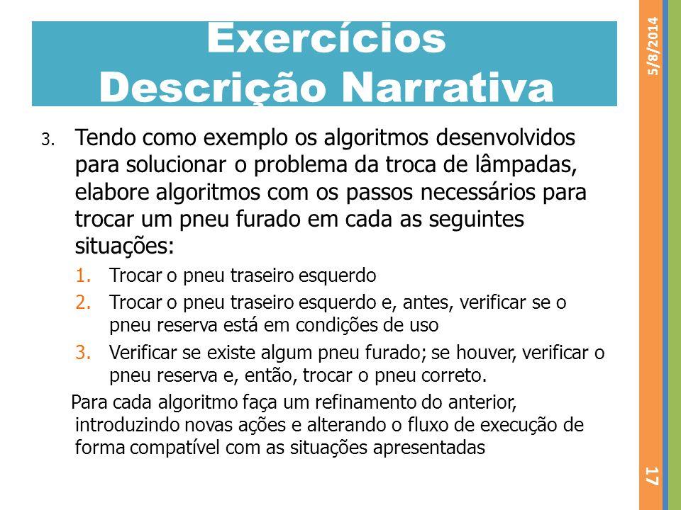 Exercícios Descrição Narrativa