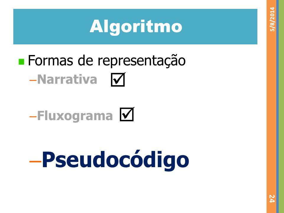 Pseudocódigo   Algoritmo Formas de representação Narrativa