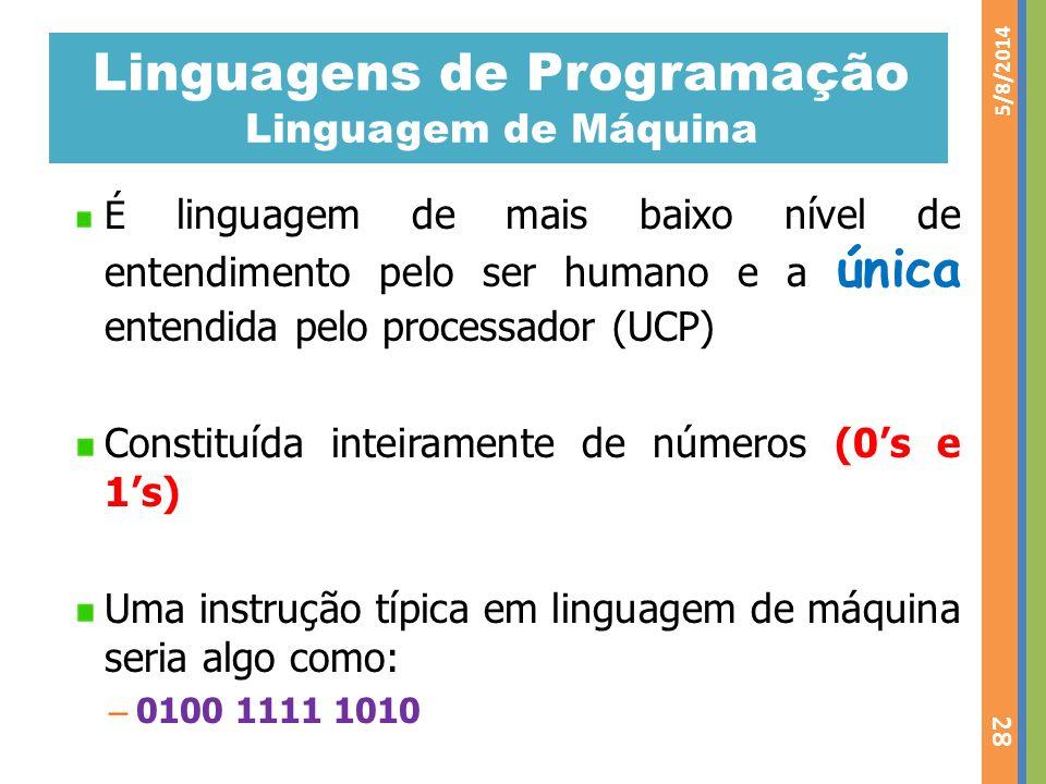 Linguagens de Programação Linguagem de Máquina