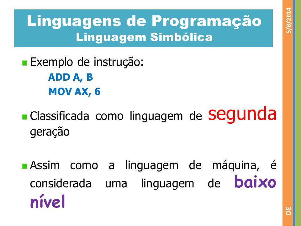 Linguagens de Programação Linguagem Simbólica