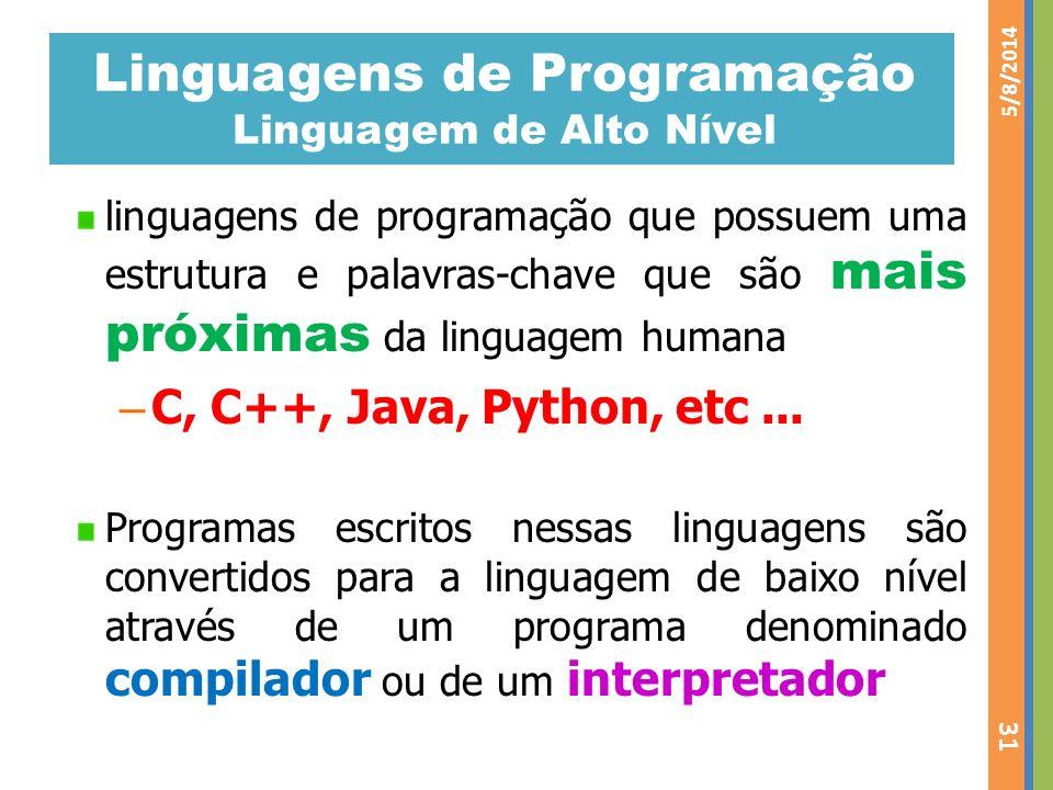 Linguagens de Programação Linguagem de Alto Nível