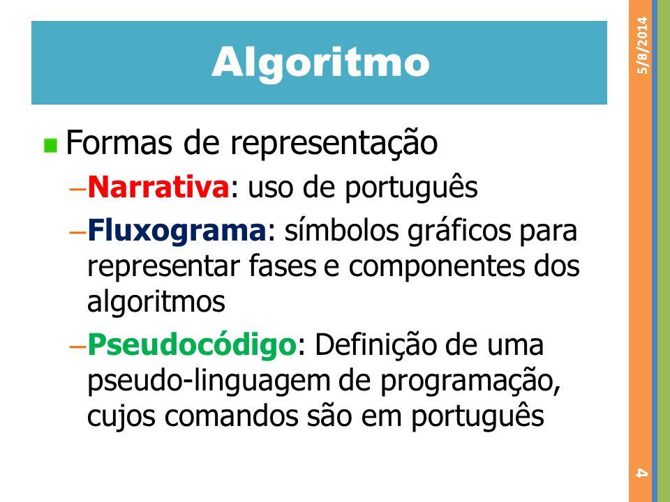 Algoritmo Formas de representação Narrativa: uso de português