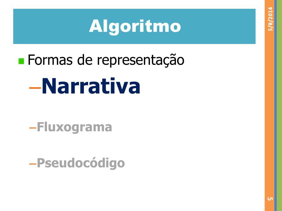 Narrativa Algoritmo Formas de representação Fluxograma Pseudocódigo