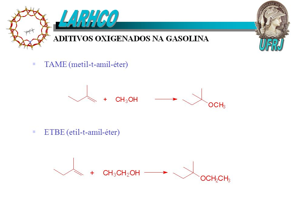 LARHCO TAME (metil-t-amil-éter) ETBE (etil-t-amil-éter) UFRJ
