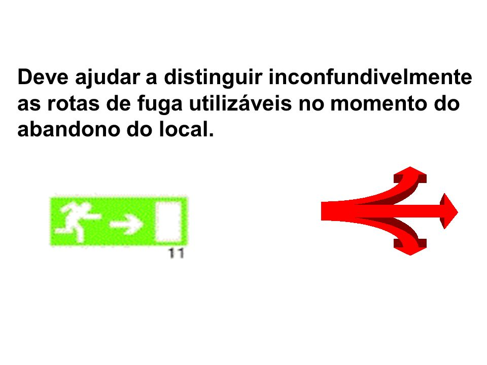 Deve ajudar a distinguir inconfundivelmente as rotas de fuga utilizáveis no momento do abandono do local.