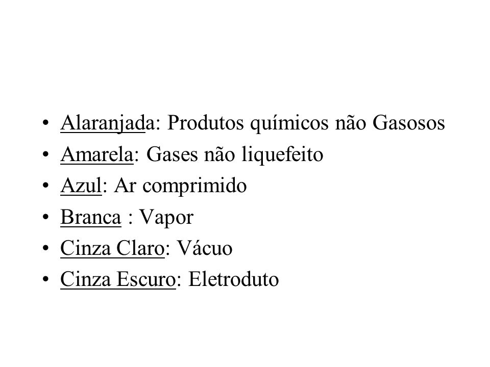 Alaranjada: Produtos químicos não Gasosos