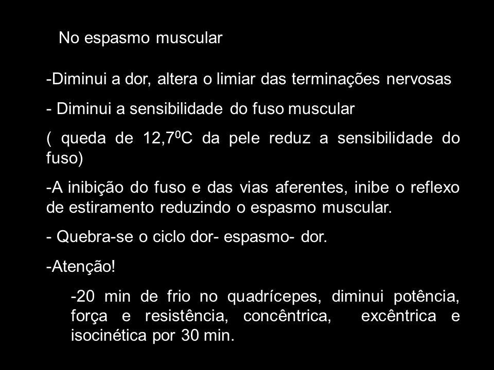 No espasmo muscular Diminui a dor, altera o limiar das terminações nervosas. Diminui a sensibilidade do fuso muscular.