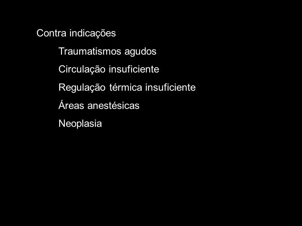 Contra indicações Traumatismos agudos. Circulação insuficiente. Regulação térmica insuficiente. Áreas anestésicas.