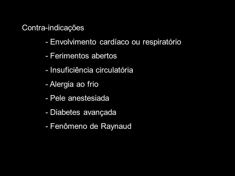 Contra-indicações - Envolvimento cardíaco ou respiratório. - Ferimentos abertos. - Insuficiência circulatória.