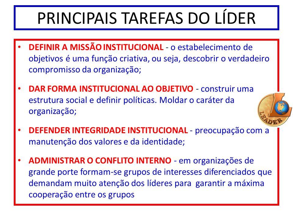 PRINCIPAIS TAREFAS DO LÍDER