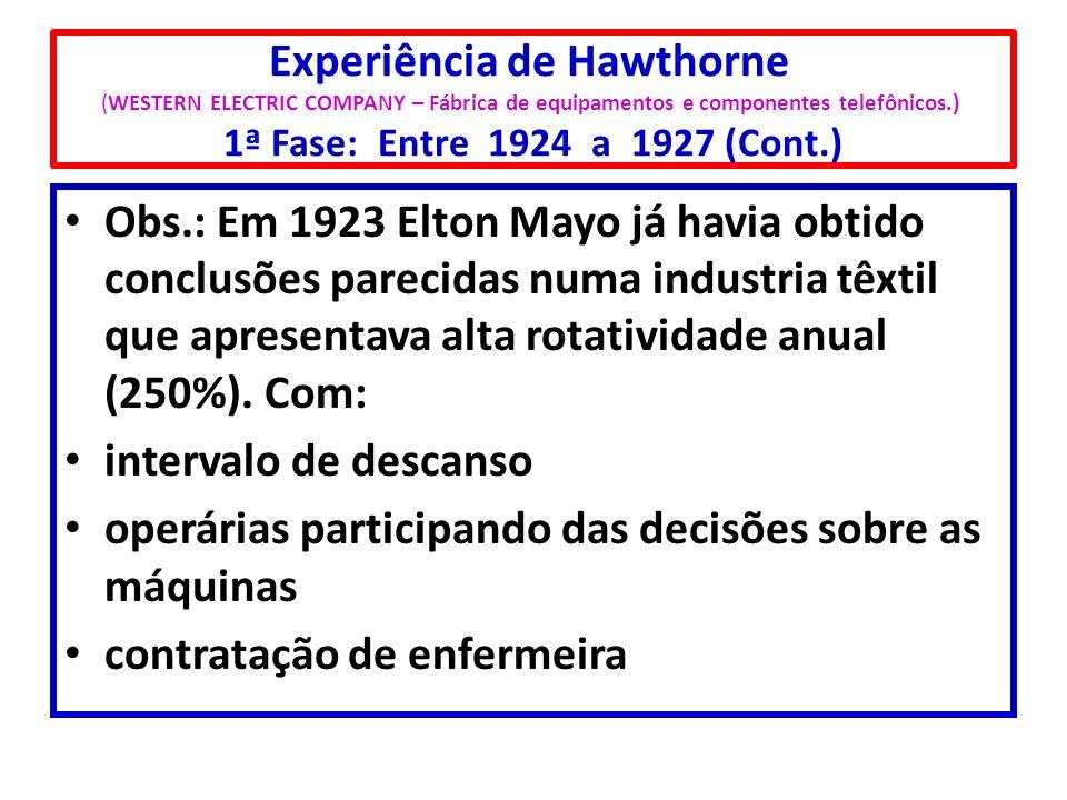 Experiência de Hawthorne (WESTERN ELECTRIC COMPANY – Fábrica de equipamentos e componentes telefônicos.) 1ª Fase: Entre 1924 a 1927 (Cont.)