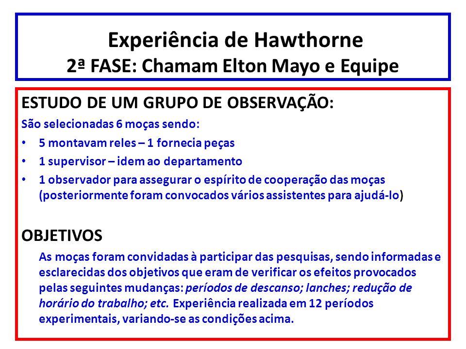 Experiência de Hawthorne 2ª FASE: Chamam Elton Mayo e Equipe