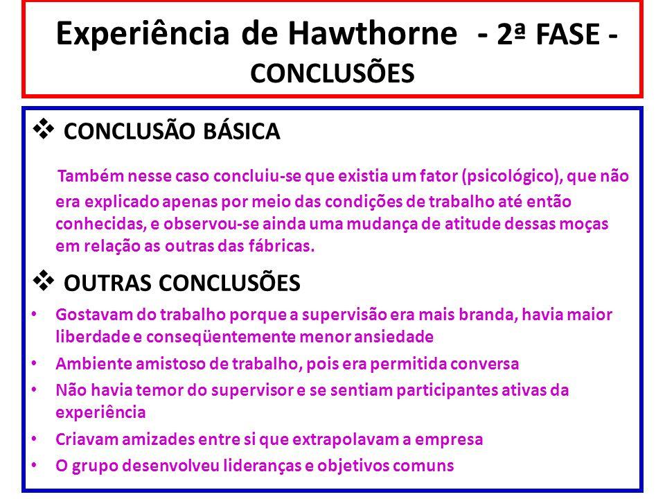 Experiência de Hawthorne - 2ª FASE - CONCLUSÕES