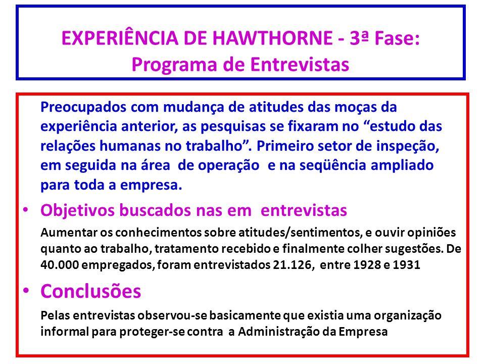 EXPERIÊNCIA DE HAWTHORNE - 3ª Fase: Programa de Entrevistas