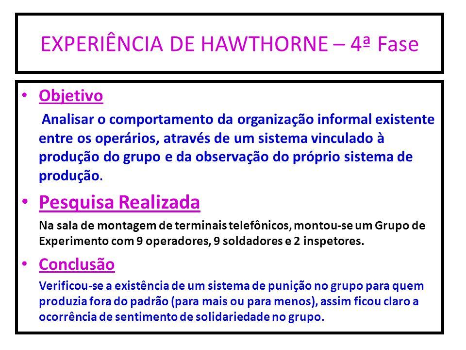 EXPERIÊNCIA DE HAWTHORNE – 4ª Fase