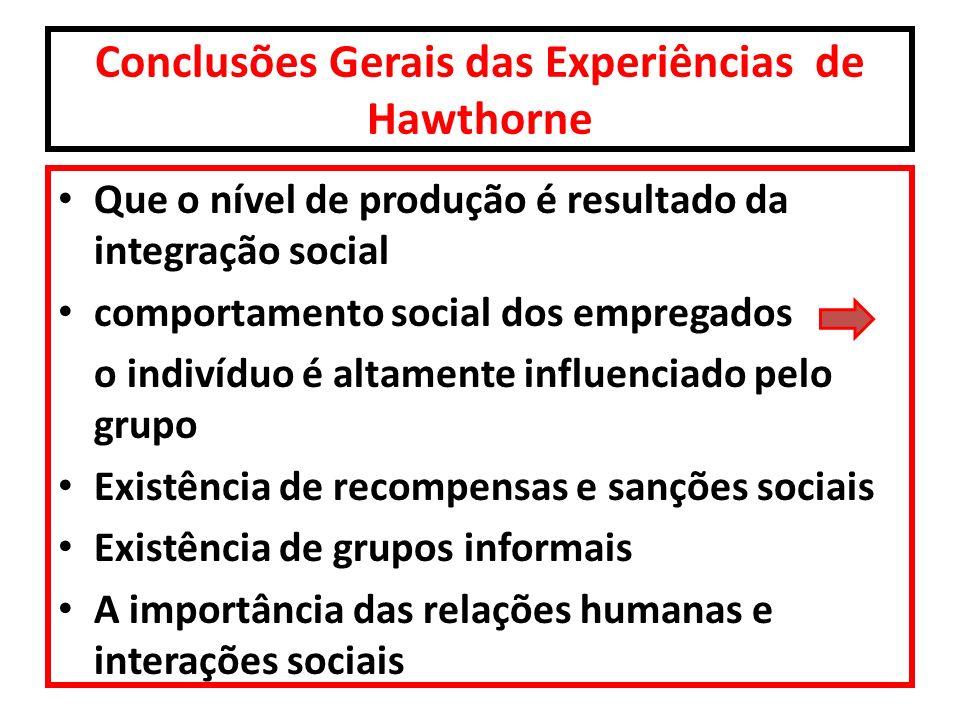 Conclusões Gerais das Experiências de Hawthorne