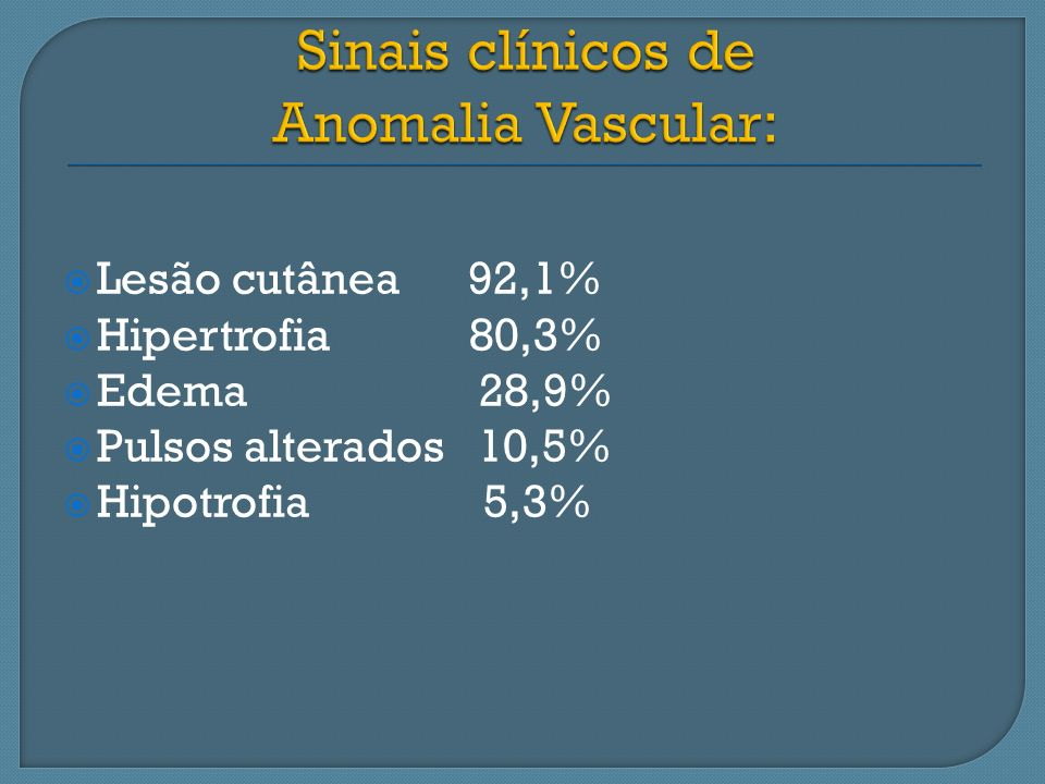 Sinais clínicos de Anomalia Vascular: