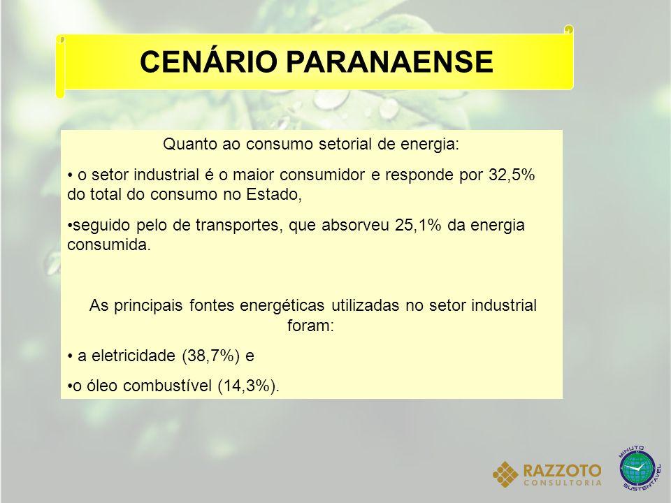 CENÁRIO PARANAENSE Quanto ao consumo setorial de energia: