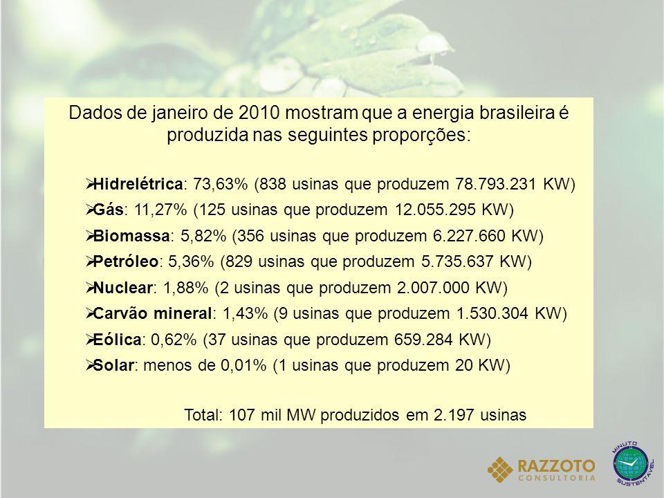 Dados de janeiro de 2010 mostram que a energia brasileira é produzida nas seguintes proporções: