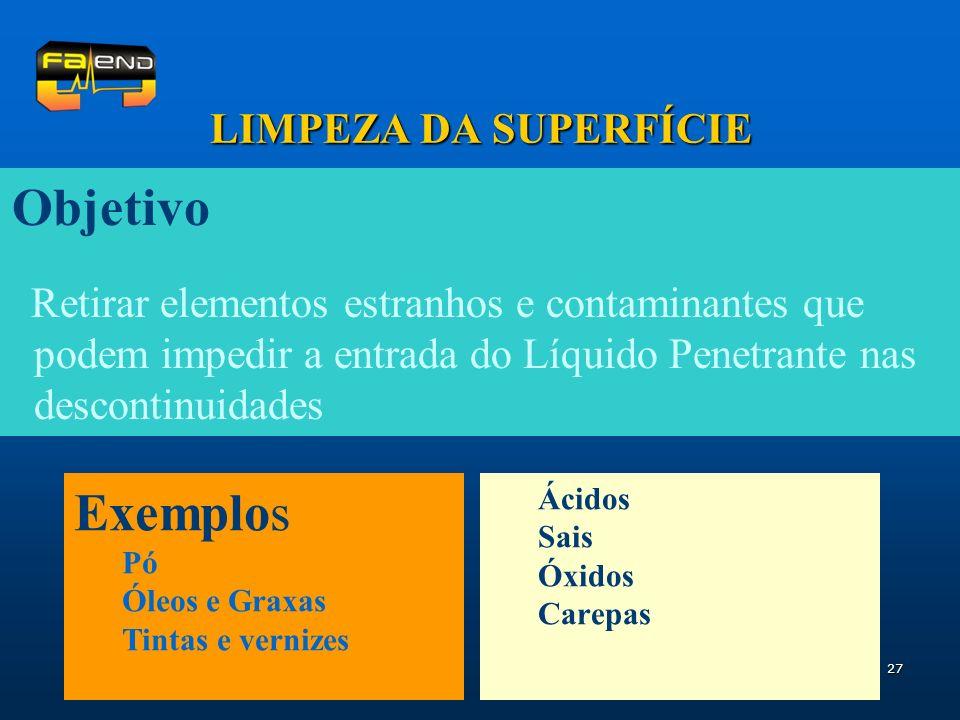 Objetivo Exemplos LIMPEZA DA SUPERFÍCIE