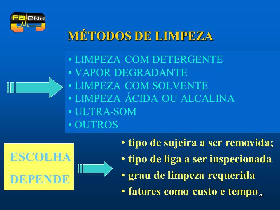 MÉTODOS DE LIMPEZA ESCOLHA DEPENDE tipo de sujeira a ser removida;