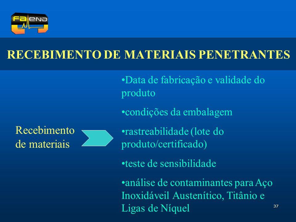 RECEBIMENTO DE MATERIAIS PENETRANTES