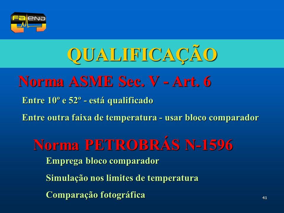 QUALIFICAÇÃO Norma ASME Sec. V - Art. 6 Norma PETROBRÁS N-1596