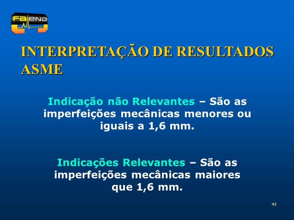 INTERPRETAÇÃO DE RESULTADOS ASME